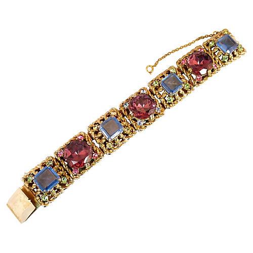 1950s Rose-Pink Crystal Bracelet