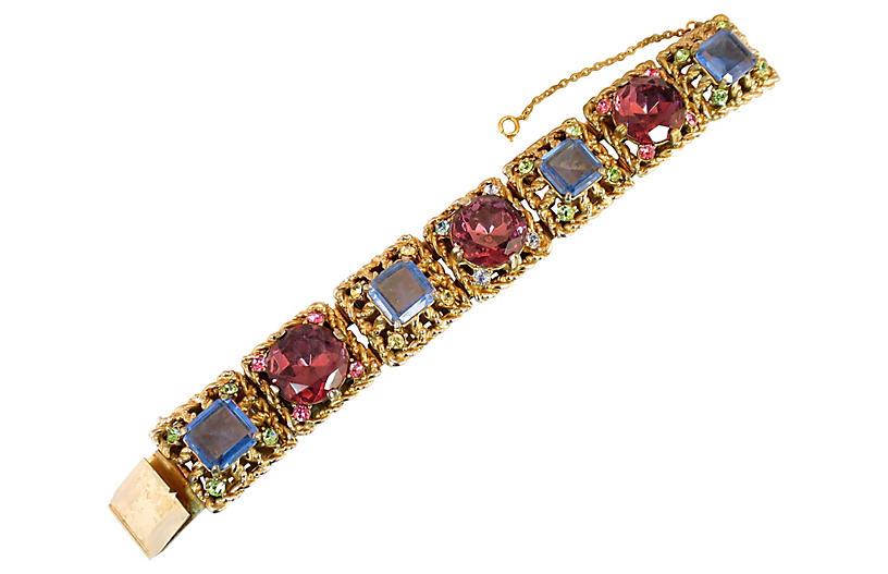1950s Massive Rose-Pink Crystal Bracelet