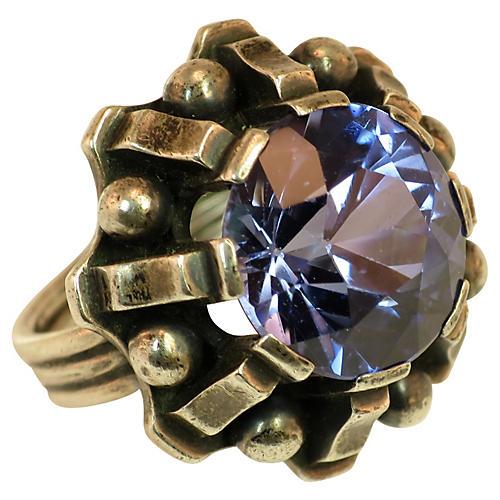 1960s Modernist Blue Topaz Sterling Ring