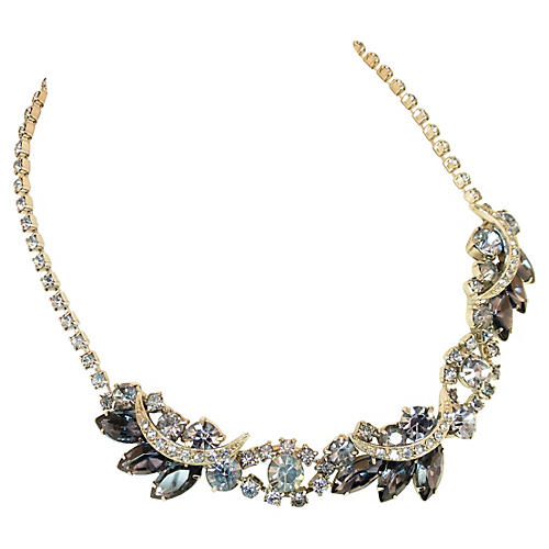 Weiss Blue Crystal Necklace 1950s