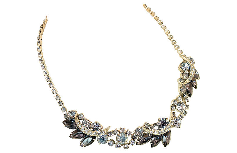 1950s Designer Blue Crystal Necklace