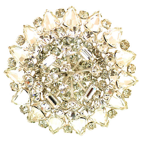 1950s Domed Crystal Flower Brooch