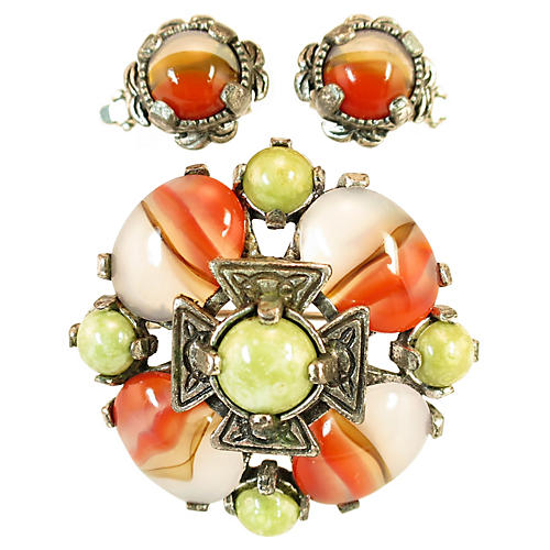 1960s Miracle Agate Art Glass Brooch Set