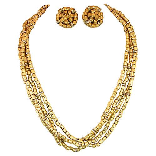 1950s Vogue Roman Glass Necklace Suite
