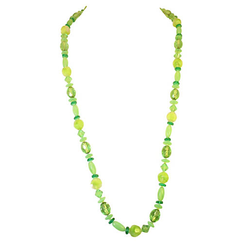 1960s Green Crystal Sautoir Necklace