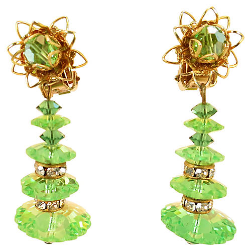 1960s Green Marguerite Crystal Earrings