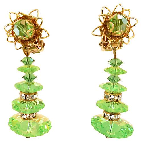 1960s Green Marguerite Crystal Earrings