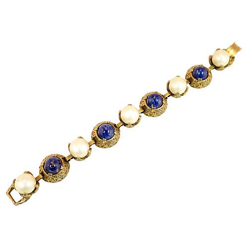 Carnegie Pearl & Lapis Bracelet