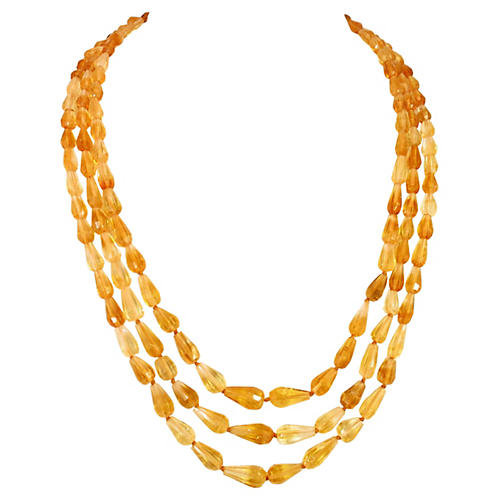 1920s Amber Teardrop Crystal Necklace