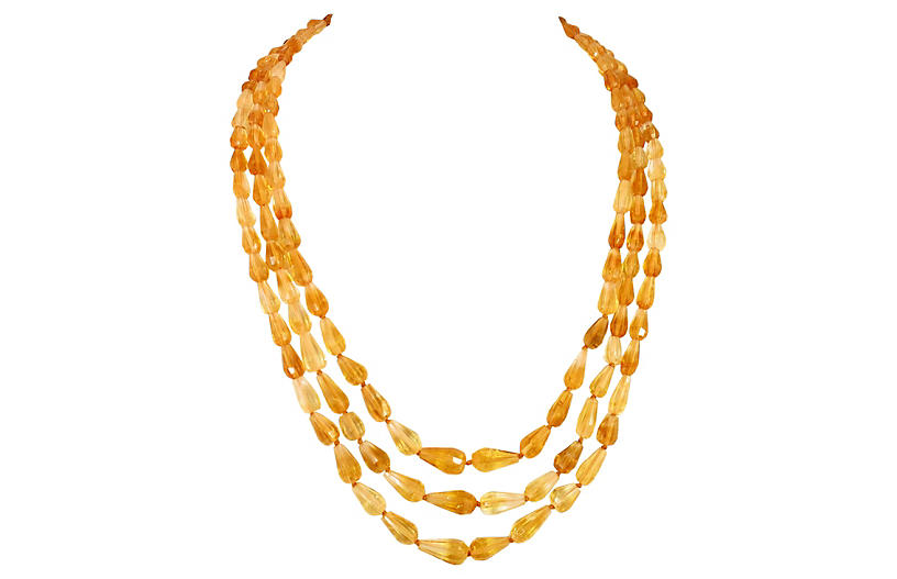 1920s Amber Teardrop Crystal Necklace