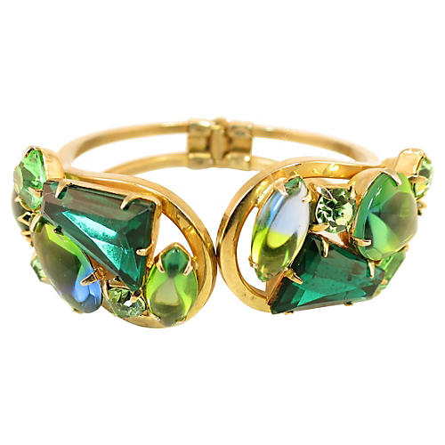 Juliana Emerald Hinged Bangle Bracelet