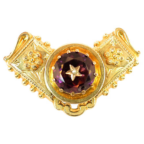 Georgian 10K Gold Carved Amethyst Brooch