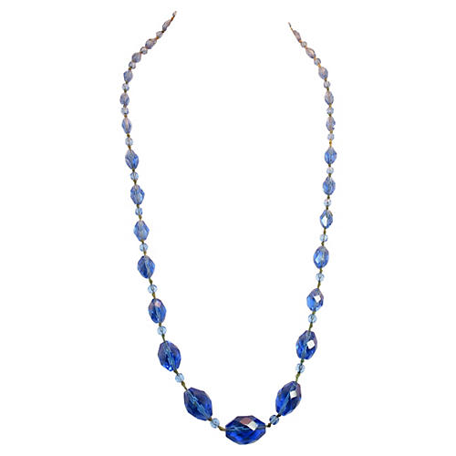 Victorian Blue Crystal Sautoir Necklace
