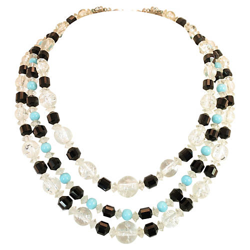 1950s Boucher Turquoise & Black Necklace