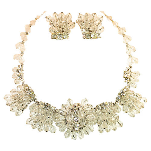 1960s Crystal Cluster Necklace Suite
