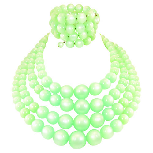 Green Moonglow Lucite Necklace Suite