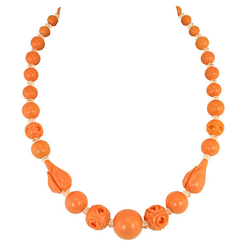 1920s Carved Coral Celluloid Necklace