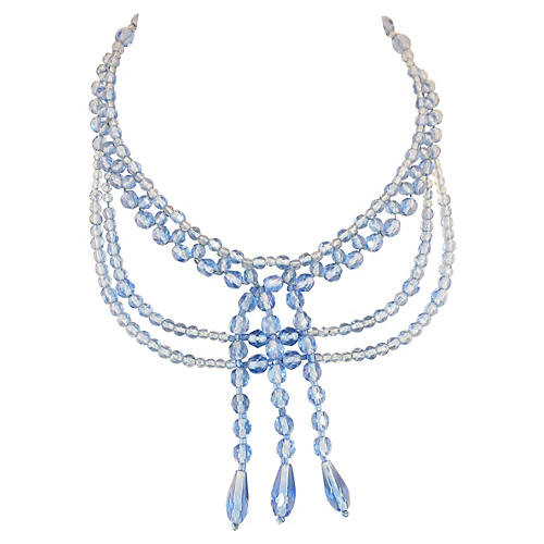 Edwardian Blue Crystal Draping Necklace