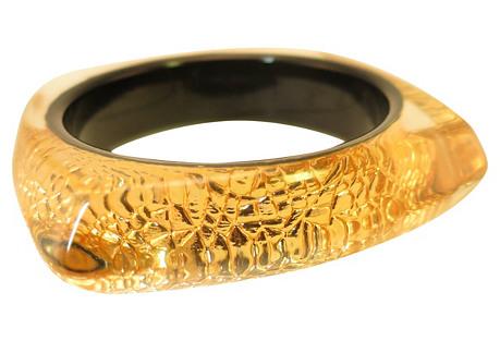 Optical Gold Lucite Snakeskin Bracelet