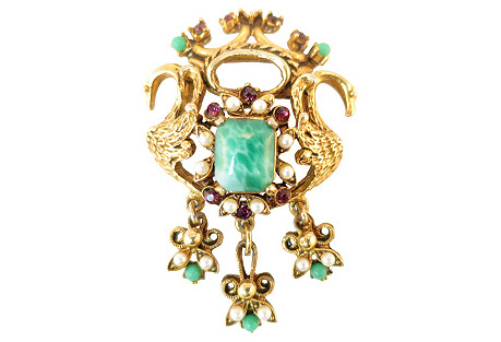 Florenza Swan & Crown Brooch
