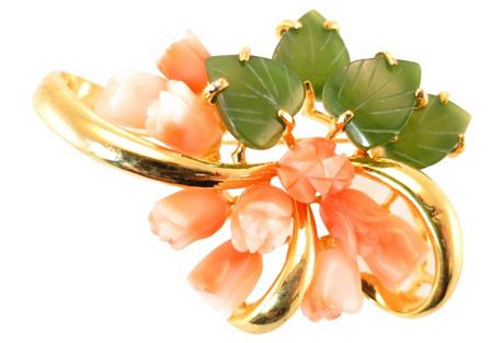 Swoboda Coral & Jade Floral Brooch