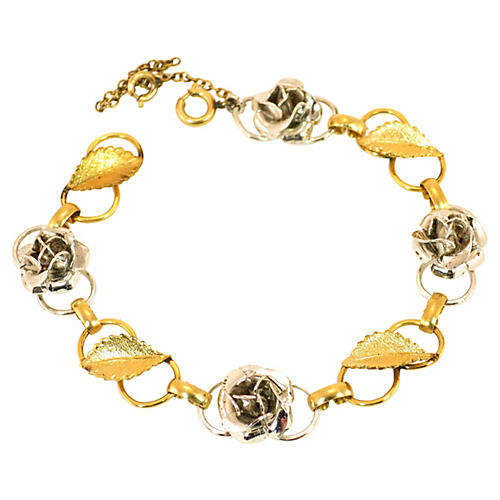 Wells Sterling & Gold Flower Bracelet