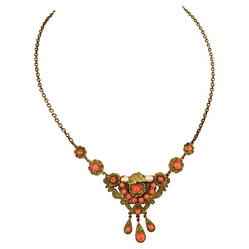 Edwardian Filigree Coral Necklace