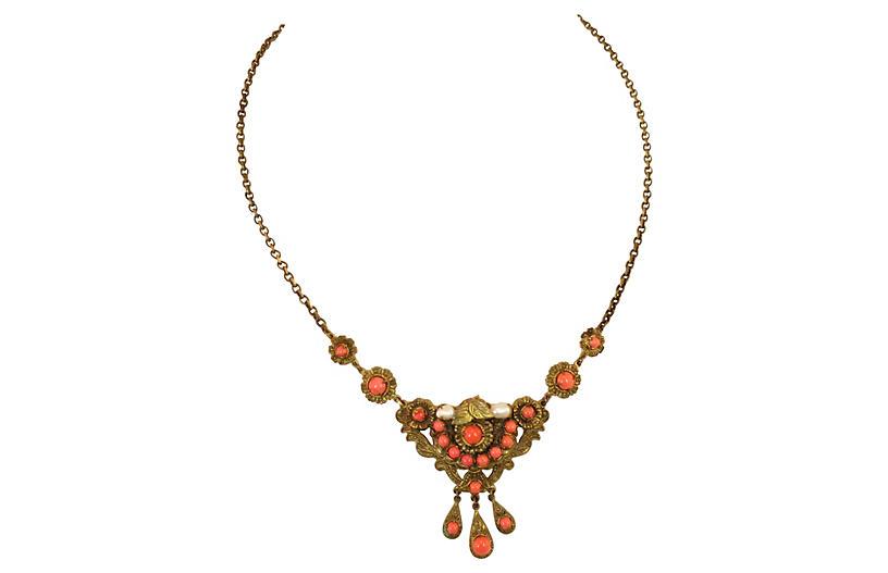 Edwardian Filigree Coral Necklace