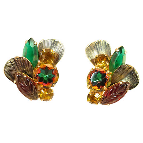 1960s Juliana Watermelon Glass Earrings