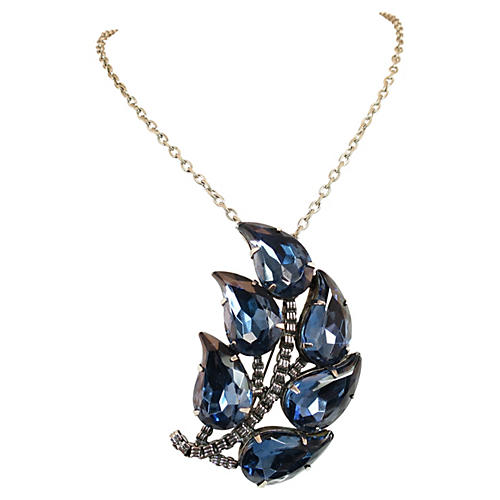 London Blue Crystal Pendant/Brooch