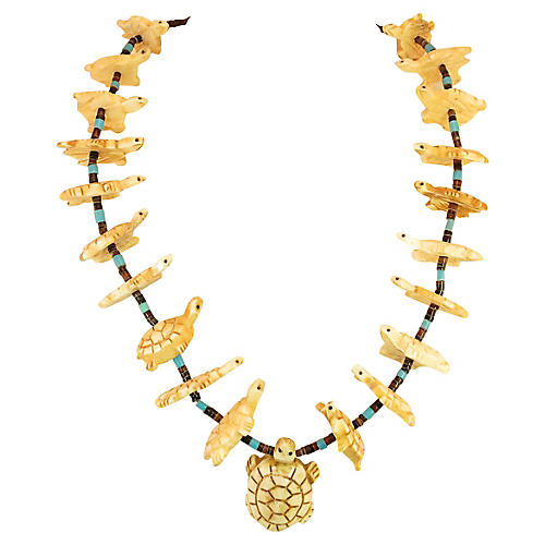 1970s Zuni Turtle Fetish Necklace