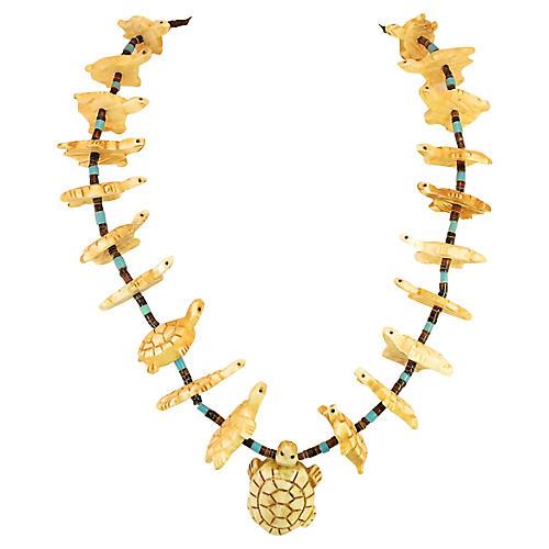 1970s Zuni Turtle Fetish Necklace