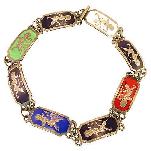 Siam Sterling Niello Enamel Bracelet