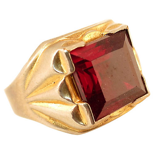 1940s Vargas Ruby Signet Ring