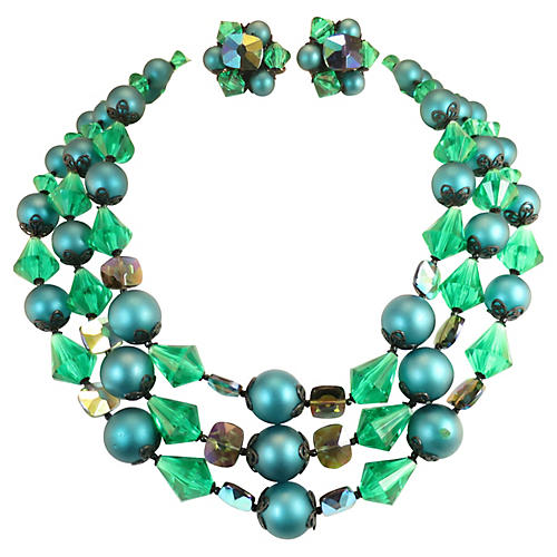 1950s Emerald Crystal Necklace Suite