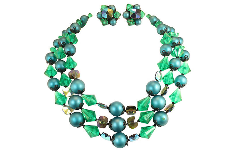 1950s Emerald Crystal Necklace