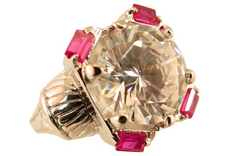 White Topaz Ruby Platinum Sterling Ring
