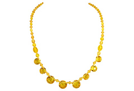 Edwardian Citrine Crystal Necklace
