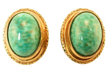 1930s Gilded Peking Glass Earrings