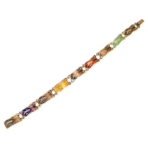 Siam Sterling Multicolor Niello Bracelet