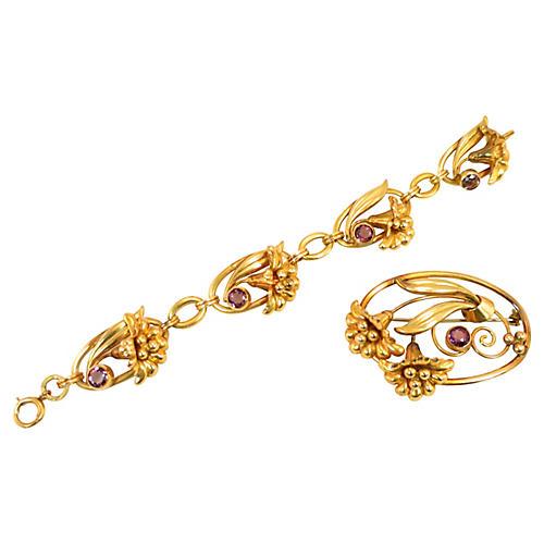 W. Lampl Amethyst Floral Bracelet Suite