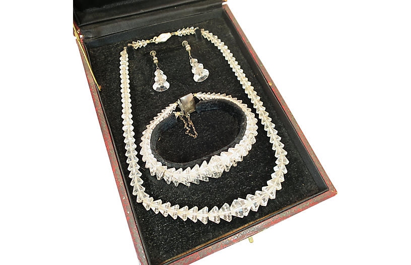 Edwardian Cut-Crystal Boxed Parure