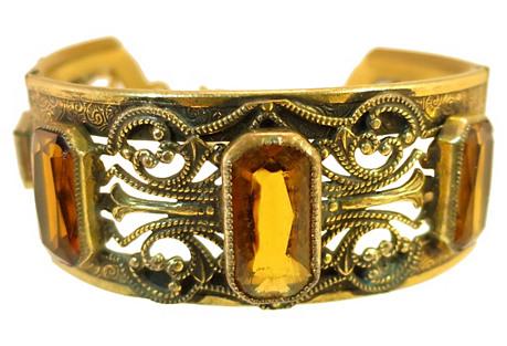 Victorian Gilded Amber Bracelet