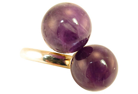 Sterling & Amethyst Globes Ring