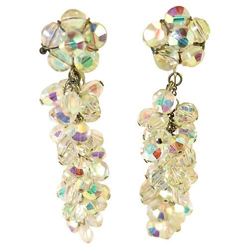 1940s AB Crystal Chandelier Earrings