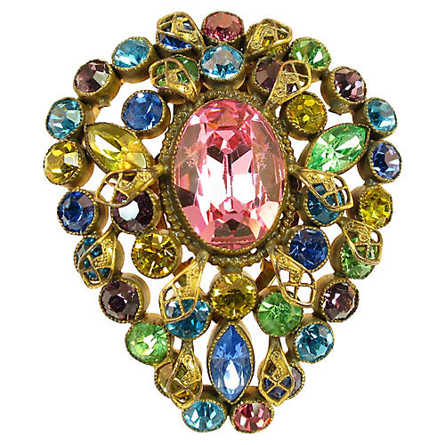 Czech Jewel-Tone Crystal Clip Brooch