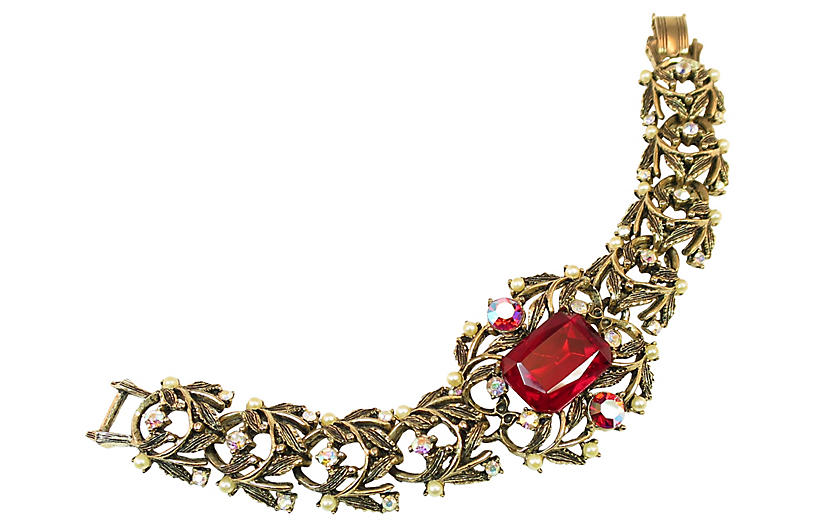 1950s Amerique Ruby Crystal Bracelet