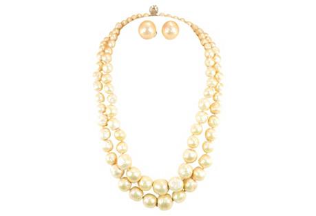 Vogue Faux Baroque Pearl Necklace Suite