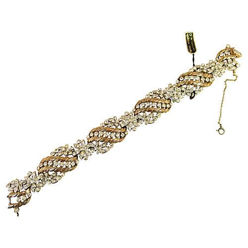 1950s Trifari Floral Crystal Bracelet