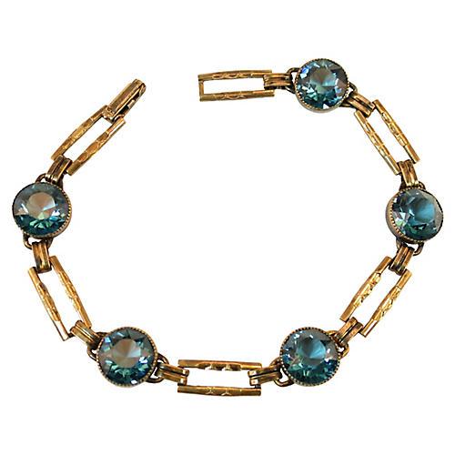 1920s Simmons Teal Crystal Bracelet